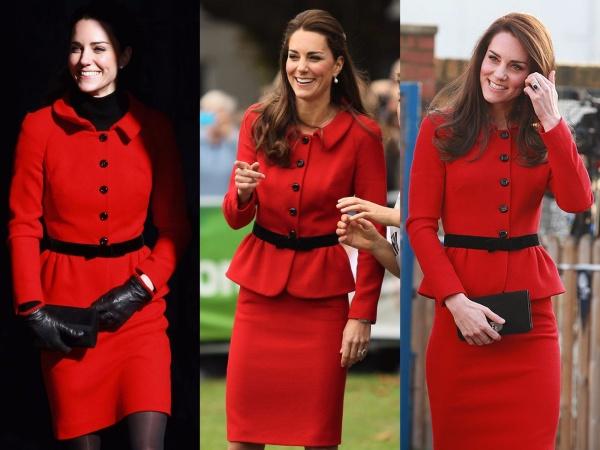 Nữ công tước rất thích mặc màu đỏ. Cô đã mặc bộ váy này của Luisa Spagnoli lần đầu vào năm 2011. Những lần tái sử dụng tiếp theo cách nhau 3 năm là 2014 và 2017. Dường như nữ Công nương rất thích set váy màu đỏ này.