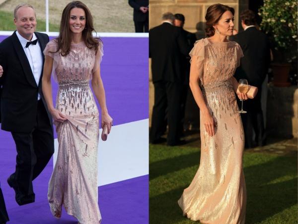 Cô lựa chọn chiếc váy Jenny Packham đính cườm này hai lần: vào năm 2011 và 2016. Đây là một sự lựa chọn rất thanh lịch của Công nương.