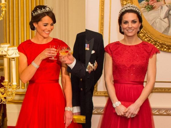 Một chiếc áo choàng Jenny Packham được Công nương Kate lựa chọn trong một bữa ăn tối năm 2015 ở Trung Quốc và tiệc chiêu đãi năm 2016 tại Cung điện Buckingham. Cùng một chiếc váy nhưng được phối với những chiếc vương miện khác nhau vẫn toát ra vẻ quý phái và tinh tế của cô.