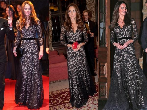 Kate Middleton trông thật quý phái trong bộ váy của Temperley London. Cô mặc chiếc váy maxi tuyệt đẹp có lớp phủ ren màu đen này 2 lần, vào năm 2012 và 2013.