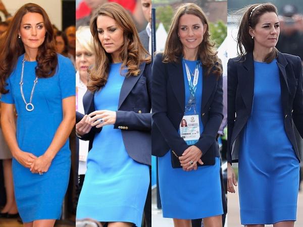 Trong bốn lần diện chiếc đầm xanh của Stella McCartney, Công nương Kate đều chọn phối với dây chuyền nhã nhặn hoặc mix với áo khoác blazer cùng tông xanh nhưng khác sắc độ để thể hiện sự thanh lịch, trang nghiêm của một người con Hoàng gia. Đây chính là một trong những bộ trang phục rất yêu thích của Công nương Kate.