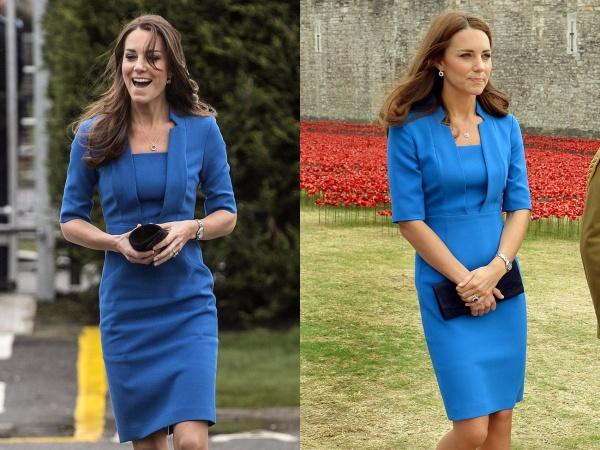 Màu xanh có vẻ như là màu sắc yêu thích của Kate. Chiếc váy LK Bennet đã được cô lựa chọn hai lần trong năm 2014.
