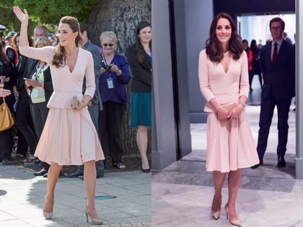 Kate mặc chiếc váy xếp ly kết hợp với áo có đường viền cổ nữ tính trong hai sự kiện thuộcnăm 2014 và 2016.