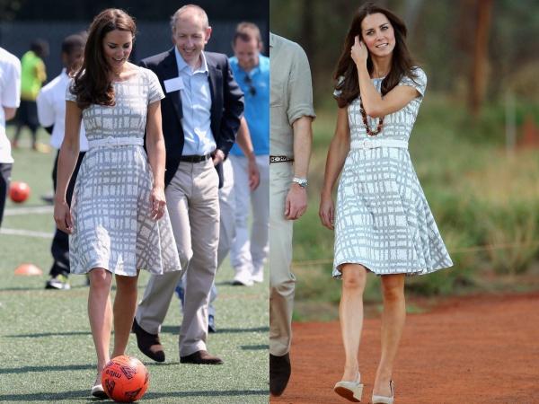 Middleton lần đầu tiên mặc chiếc váy Hobbs này vào năm 2012. Sau đó, Công nương hoàng gia Anh xuất hiện cùng chiếc váy cổ thuyền và tay áo ngắn hai năm sau đó cho chuyến đi đến New Zealand.