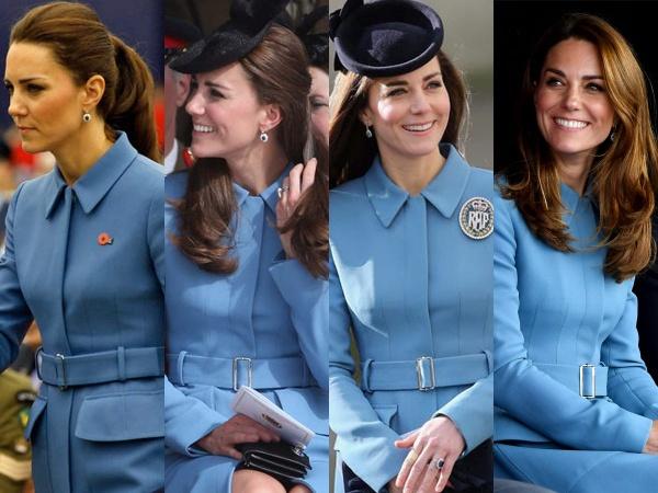Chiếc áo khoác tinh tế đã được Công nương mặc hai lần vào năm 2014, một lần vào năm 2016 và một lần nữa vào năm 2019. Sắc xanh cổ điển, sang trọng thật sự rất phù hợp với khí chất riêng của Công nương.