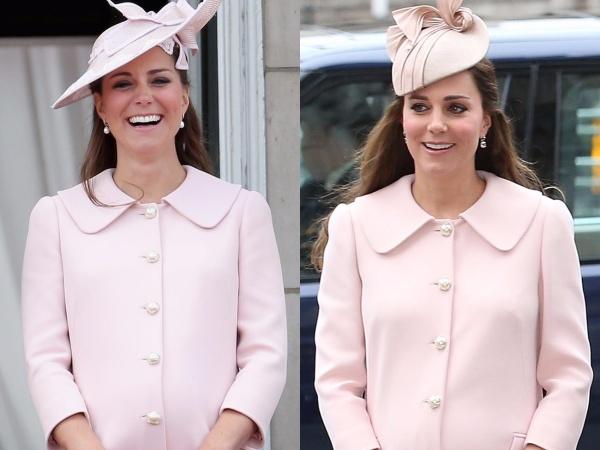 Kể cả khi đó là trang phục diện trong lúc mang bầu, Middleton cũng không ngại sử dụng lại. Cô đã mặc chiếc áo khoác Alexander McQueen này khi mang thai hoàng tử George vào năm 2013, sau đó một lần nữa khi mang bầu công chúa Charlotte vào năm 2015. Thời trang bà bầu của Công nương luôn đủ chất thời thượng để các cô gái bình thường học hỏi.
