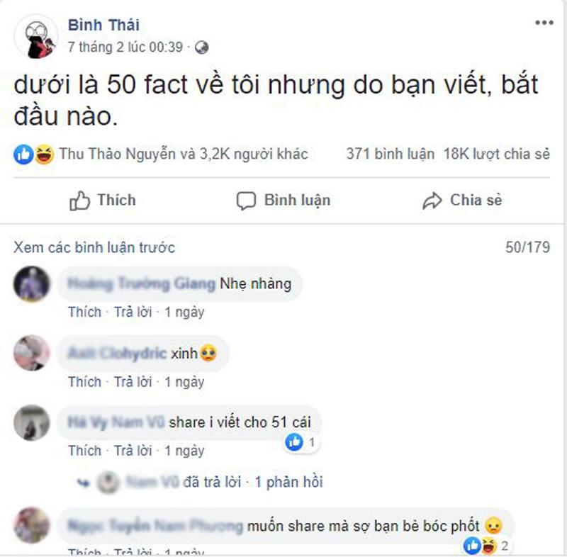 Trào lưu gây sốt mấy hôm nay bắt nguồn từ tài khoản Facebook có tên Bình Thái