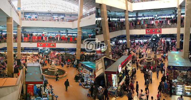 Đây là hai bức ảnh đối lập của chợ Đồng Xuân trước đây và chợ trong mùa dịch Corona.