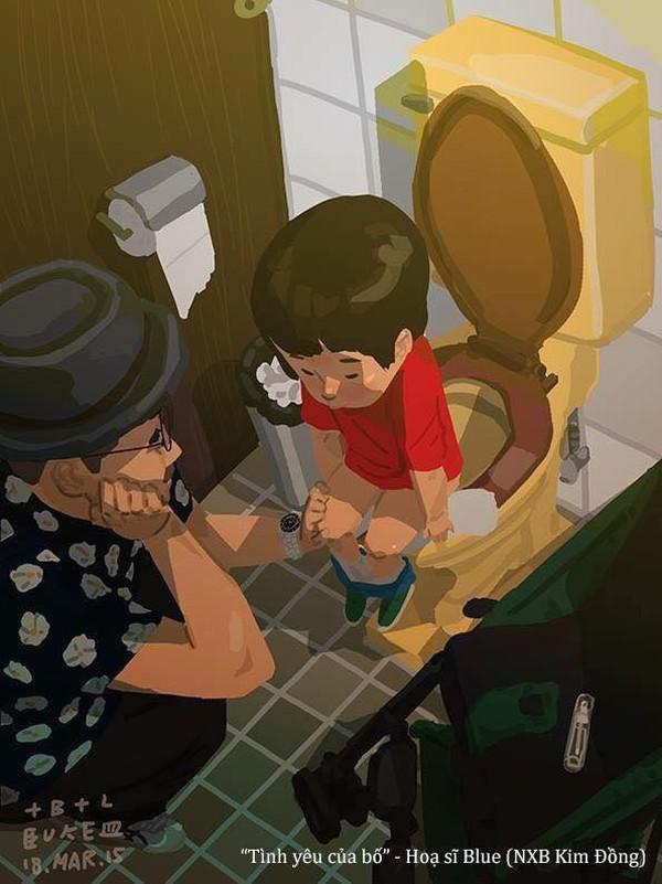 Đứa bé nào cũng sợ phảiđi vệ sinh buổi tối một mình, tuy nhiên nếu cóbố nắm tay ngồi cạnh, hàn huyên nói chuyện cũng đỡ sợ hơn nhiều!