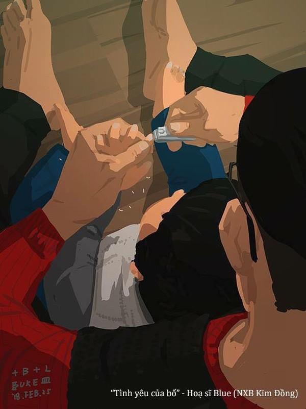 Bàn tay bố to, thô ráp, cắt móng tay không được đẹp cho lắmnhưng lại vô cùng ấm áp, thân thương.