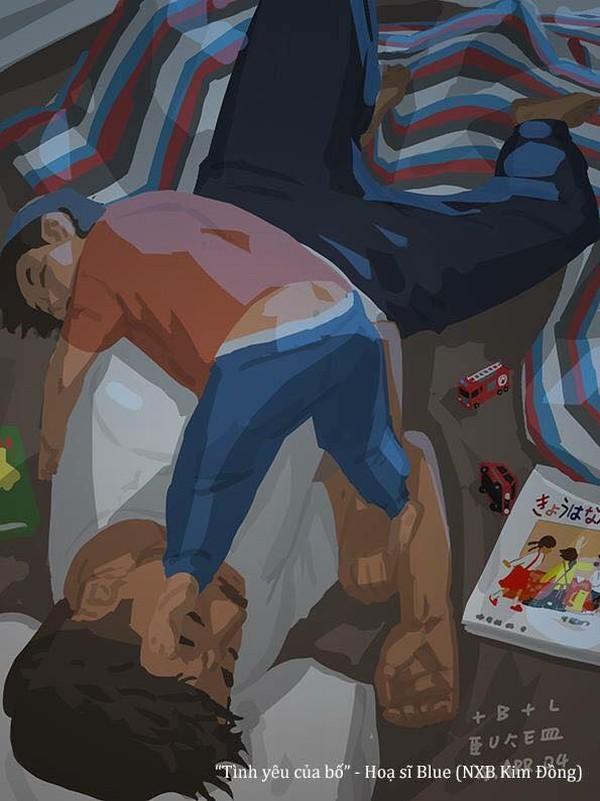 Sau những giây phút chơi đùa, được nằm đè lên bố để ngủ thế này thì đứa trẻ nào chả muốn!