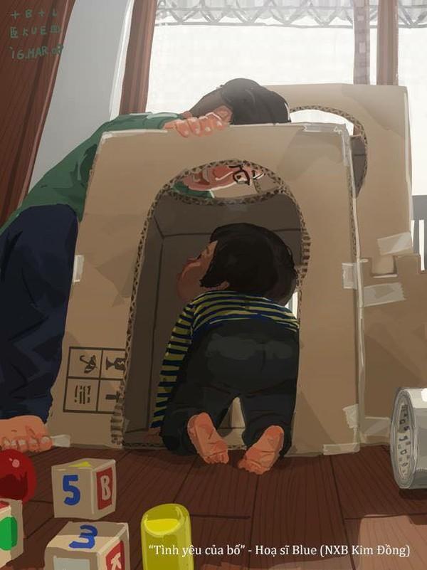 Xây cho con một căn nhà riêng từ bìa giấy carton, còn gì tuyệt vời hơn bố chứ!