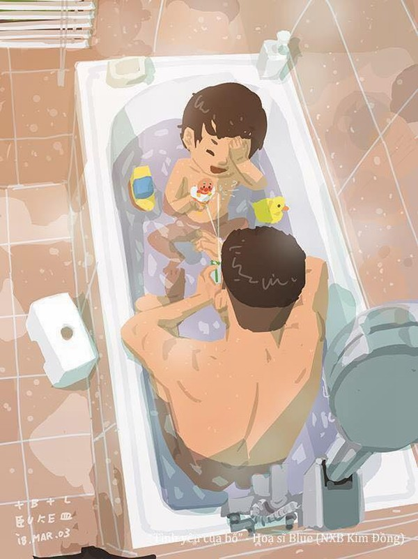 Ngày còn nhỏ thì đứa trẻ nào cũng từng được bố tắm táp, kỳ lưng cho.