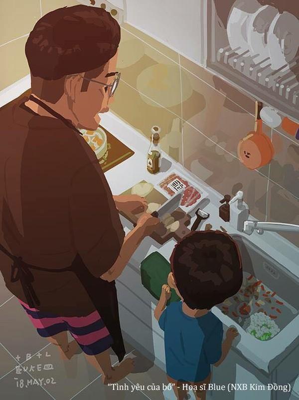Còn gì tuyệt vời hơn là đứng bên cạnh để nhìn bố nấu ăn chứ, chắc chắn món ăn đó sẽ ngon lắm cho coi!