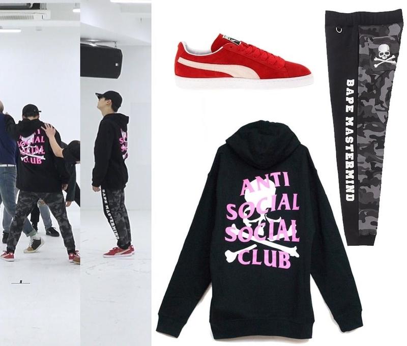 Outfit khi nhảy của Suga đúng là không phải dạng vừa. Ở một video nhảy khác của nhóm, Suga đã mặc chiếc Hoodie Mastermind x Anti Social Club đen giá 556 USD (khoảng 12,6 triệu VNĐ).