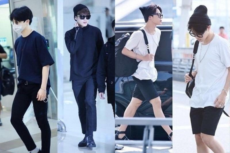 Jimin thường khá đơn giản khi xuất hiện ở sân bay. Anh thường chọn những set đồ trắng đen để mặc.