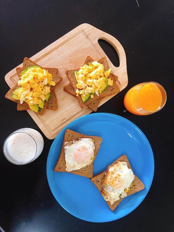 Bữa sáng Rica chuẩn bị cho vợ.