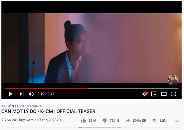 MV 'Cần một lý do' của K-ICM leo lên Top 1 trending Youtube, lượng dislike tăng 'chóng mặt' 2