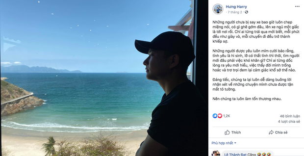 Harry Hưng - bạn trai thiếu gia tin đồn của Nhật Lê cũng đăng một status dài ám chỉ việc 'Chúng ta luôn làm tổn thương nhau'