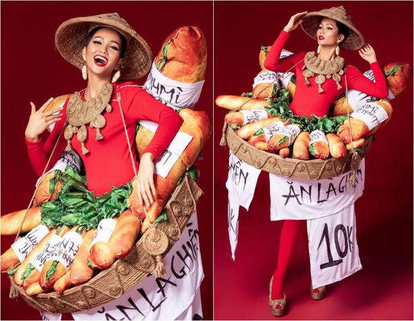 Hoa hậu H'Hen Niê trong trang phục tham dự đấu trường nhan sắc lớn nhất hành tinh được lấy cảm hứng từ bánh mì Việt.