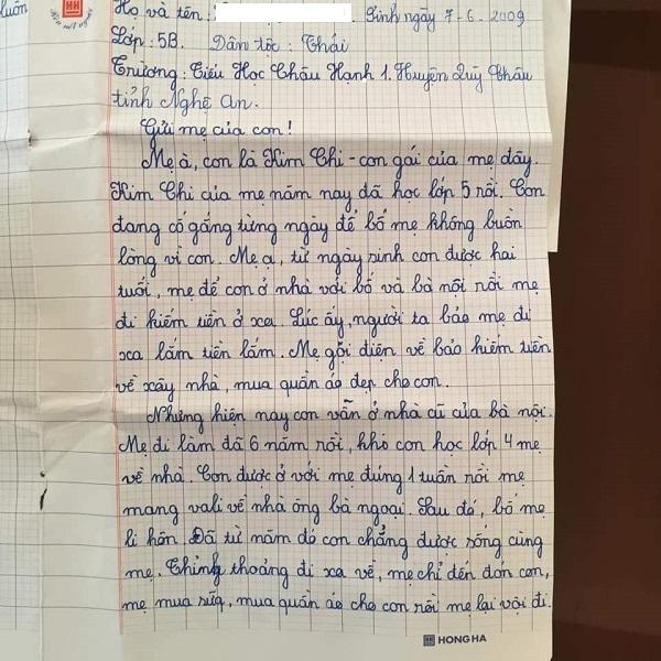Bé gái lớp 5 viết thư gửi mẹ: 'Bố mẹ không ở cạnh nhau nữa, con làm gì có quyền đòi hỏi mẹ đi họp phụ huynh cho con...' 1