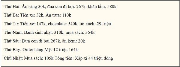 Các khoản chi tiêu trong tuần vừa rồi của gia đình được Trinh Phạm tiết lộ.
