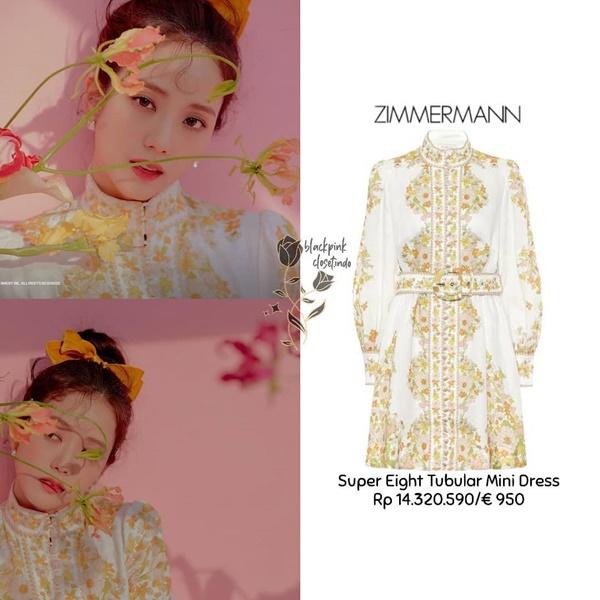 'Nữ thần YG' Jisoo khoe vẻ đẹp trong trẻo, dịu dàng cùng với kiểu tóc búi lạ mắt, người đẹp lựa chọn chiếc đầm cổ trụ thêu hoa tỉ mỉ của nhà mốt Zimmermann có giágần 23 triệu đồng.