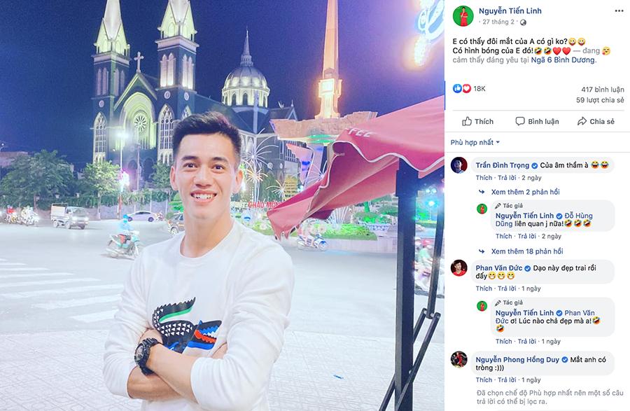 Tấm hình mới nhất của Tiến Linh trên trang cá nhân