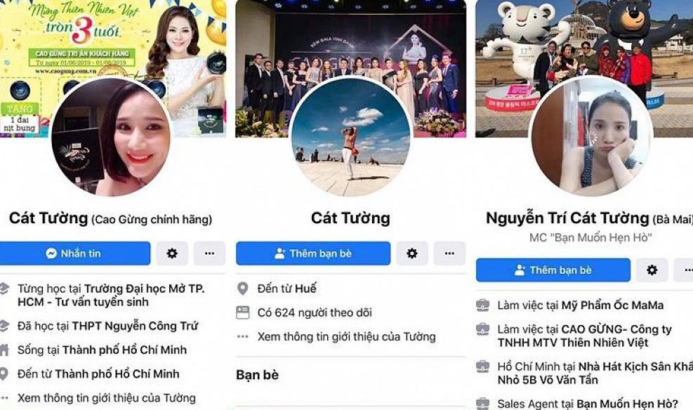 Tìm kiếm trên facebook, hàng loạt facebook giả mạo nữ MC xuất hiện. Thậm chí, có một số tài khoản sao chép y nguyên thông tin của cô để người mua hàng thêm tin tưởng.