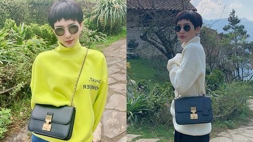 Hiền Hồ sở hữu nhiều chiếc túi hiệu có phom dáng basic, mang dấu ấn riêng của từng thương hiệu. Chẳng hạn như chiếc túi đen đơn giản của Dior dù đã mắt đã khá lâu nhưng rất được cô yêu thích.