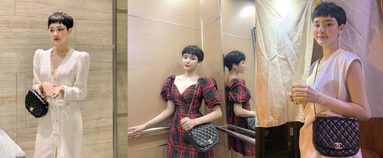 Mẫu thiết kế nửa vầng trăng độc đáo có giá hơn 100 triệu đồng đến từ Chanel rất được nàng 9X ưa thích bởi chỉ cần phối đồ giản dị vẫn thể hiện nét cá tính và năng động của nữ ca sĩ xinh đẹp.