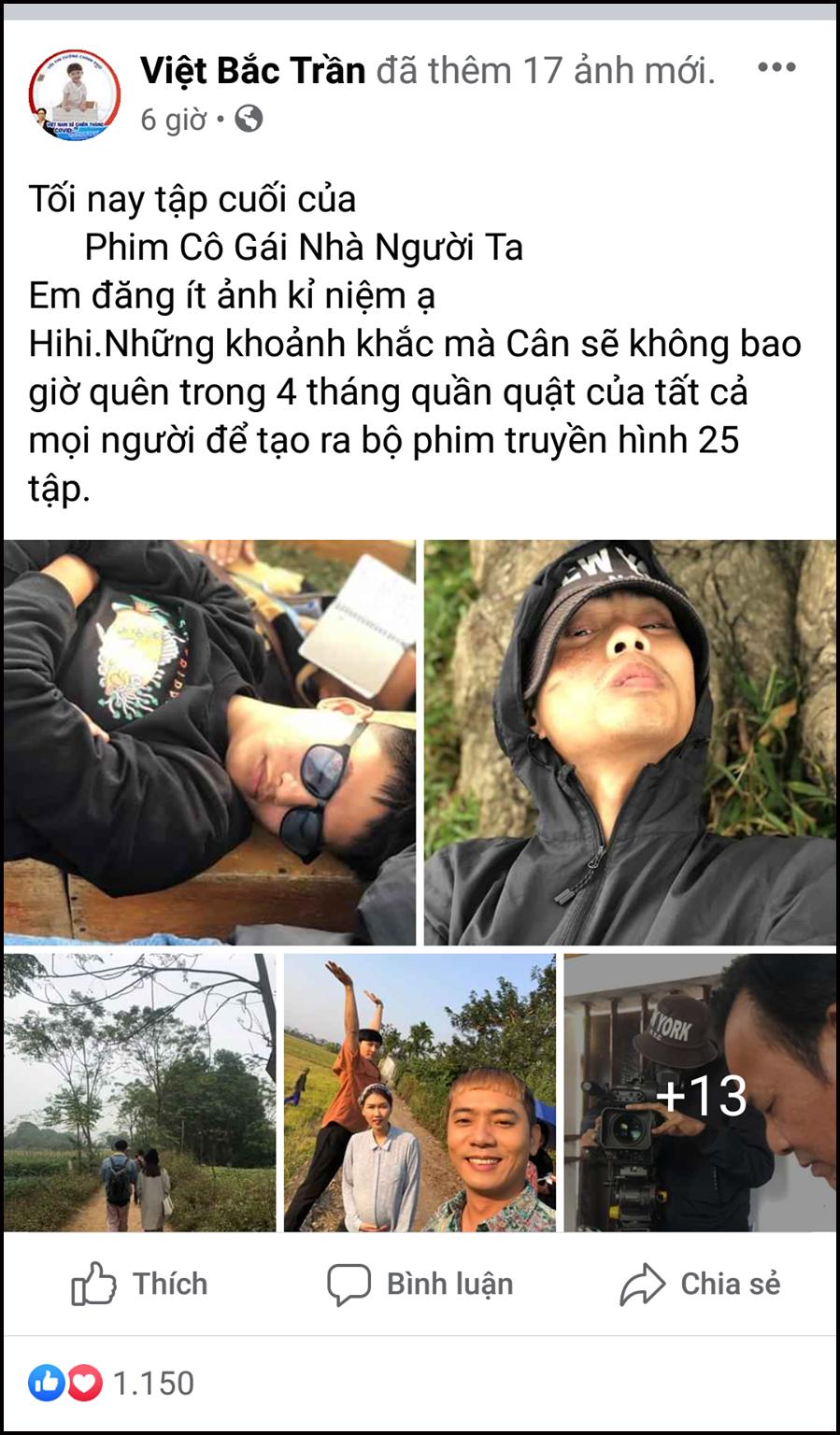 Chăm chỉ đăng tải hình ảnh về phim ắt hẳn là Việt Bác (vai Cân).
