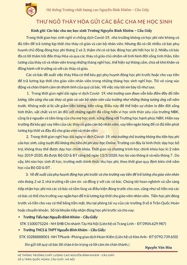 Bức thư ngỏ gây chú ý của Thầy Nguyễn Văn Hòa.