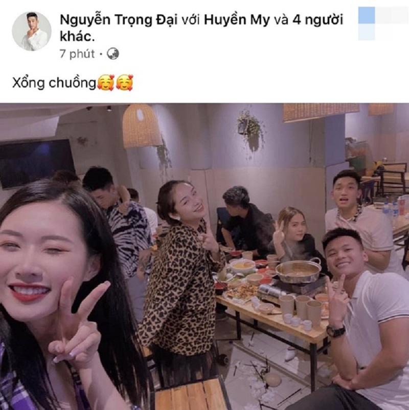 Trước đó, anh chàng cũng đã đăng tải hình ảnh đi ăn uống cùng Huyền My