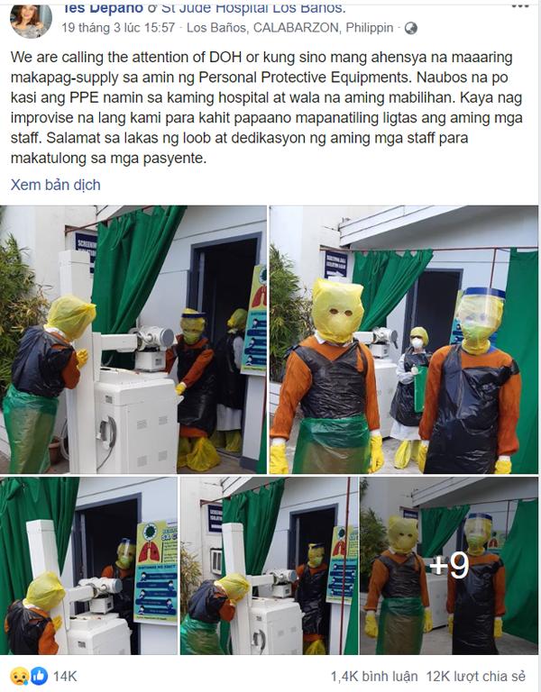 Bác sĩ Philippines tự chế đồ bảo hộ vì tình trạng thiếu trầm trọng thiết bị vật tư y tế.