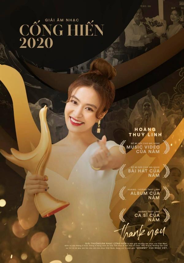 Hoàng Thùy Linh vừa có chiến thắng áp đảo tại Âm nhạc Cống hiến 2020.