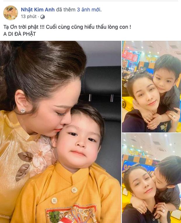 Nhật Kim Anh hạnh phúc bên con trai.