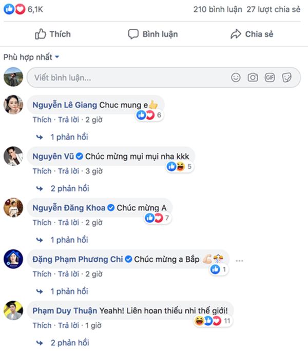 Hàng loạt nghệ sĩ chúc mừng Ngô Kiến Huy về thành tích mới
