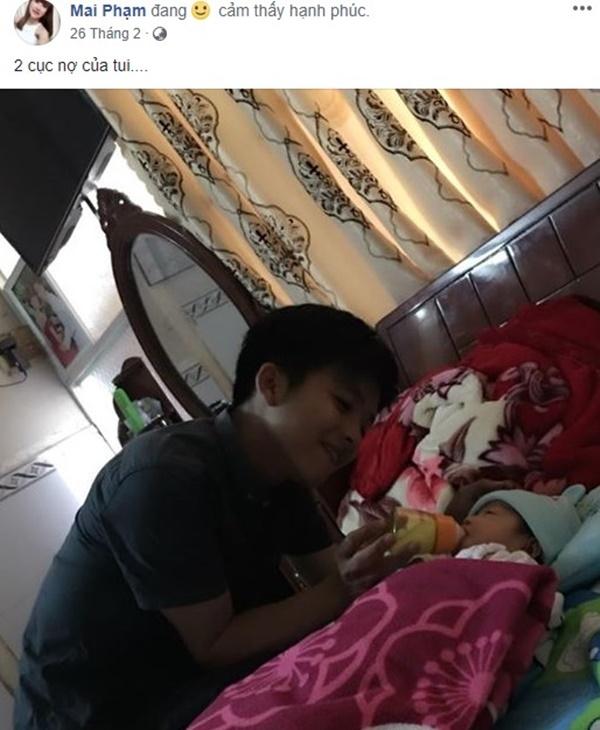 Phạm Mai thường xuyên đăng ảnh hai 'cục nợ' của mình đầy hạnh phúc