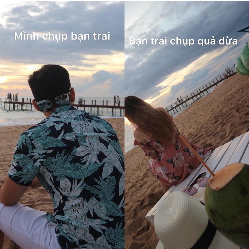 'Bảo chụp cho em thì lại chụp quả dừa'