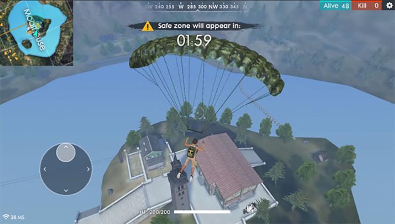 Người chơi sẽ nhảy dù từ trên máy bay xuống để bắt đầu cuộc chiến
