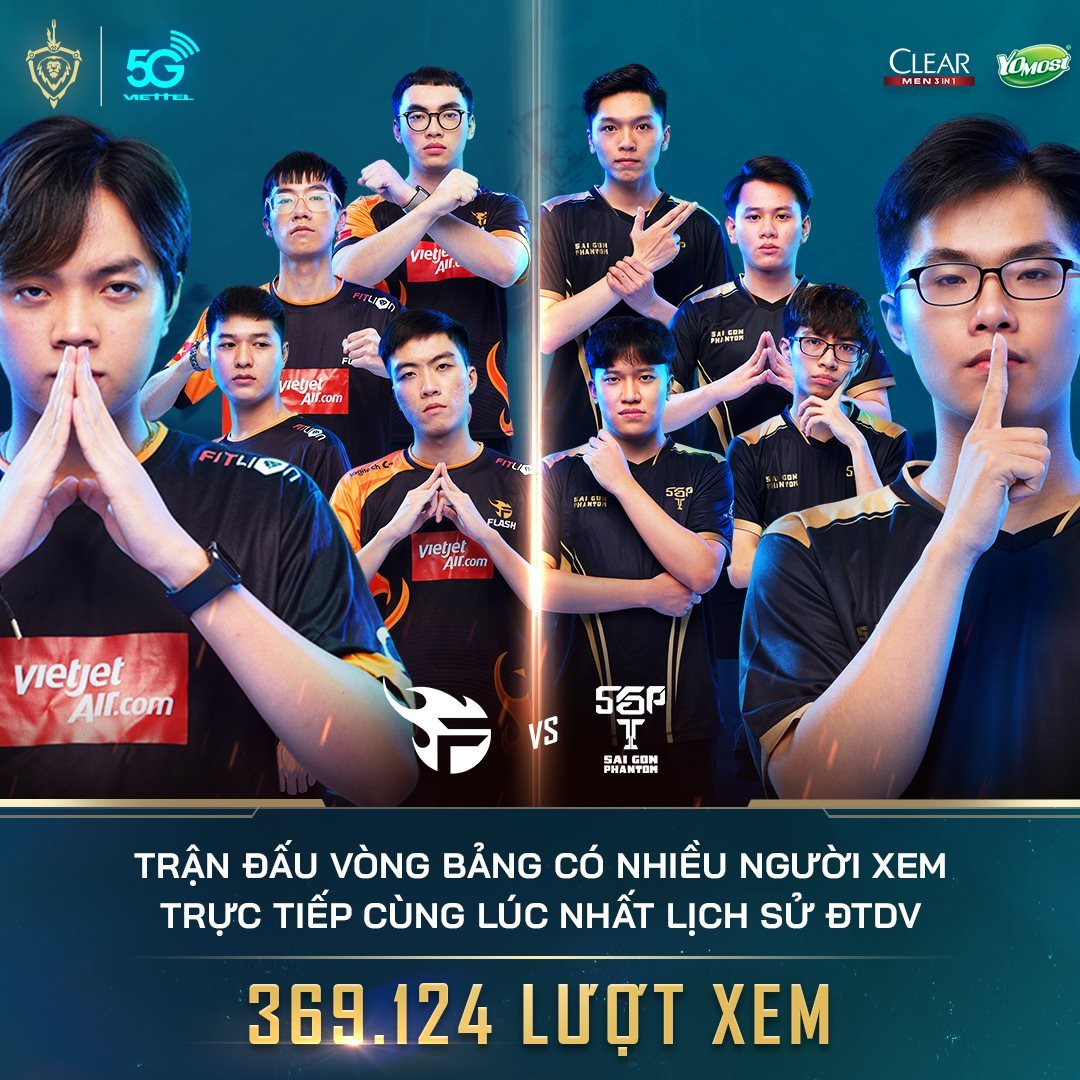 Trận so kè giữa Team Flash và Saigon Phantom xác lập kỷ lục lượt xem trực tiếp tại các mùa ĐTDV