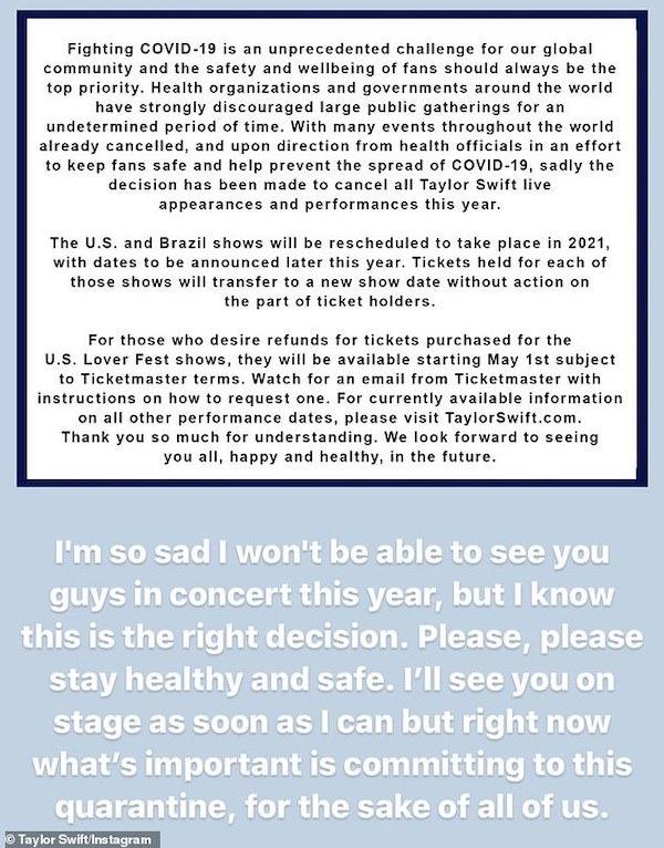 Taylor Swift sẽ không biểu diễn tại các concert trong năm 2020 do ảnh hưởng của dịch bệnh Covid-19.