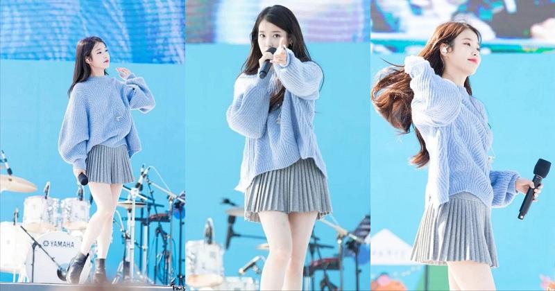 Cách phối áo sweater cùng chân váy luôn là combo hoàn hảo cho mọi quý cô. Nữ ca sĩ 9X trong bộ đồ xanh - xám trông thật xinh đẹp, rạng ngời và lôi cuốn trên sân khấu.