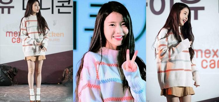 Nổi tiếng là một trong những biểu tượng thời trang của giới trẻ xứ Hàn, IU đã khiến fan hâm mộ bị cuốn theo phong cách trẻ trung đẳng cấp của mình trong set outfits sweater kẻ đa sắc màu cùng chân váy nâu đất.