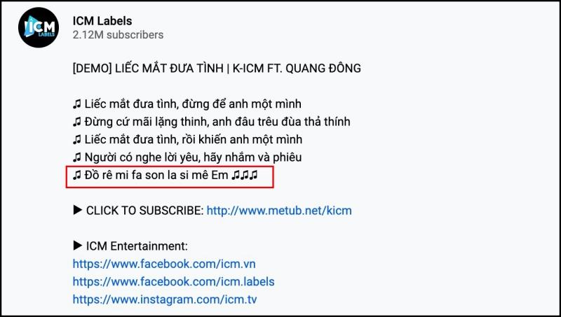 Lyrics củaLiếc mắt đưa tìnhđược K-ICM đăng kèm bản demo.