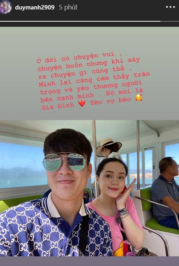 Mới đây, Duy Mạnh cũng đăng tải hình ảnh tình cảm bên vợ