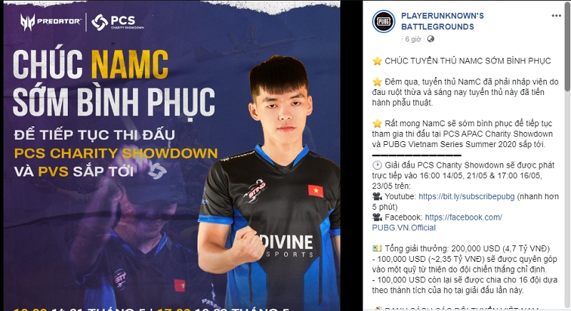 Thông tin mới nhất về tuyển thủ NamC được fanpagePLAYERUNKNOWN'S BATTLEGROUNDS chia sẻ.