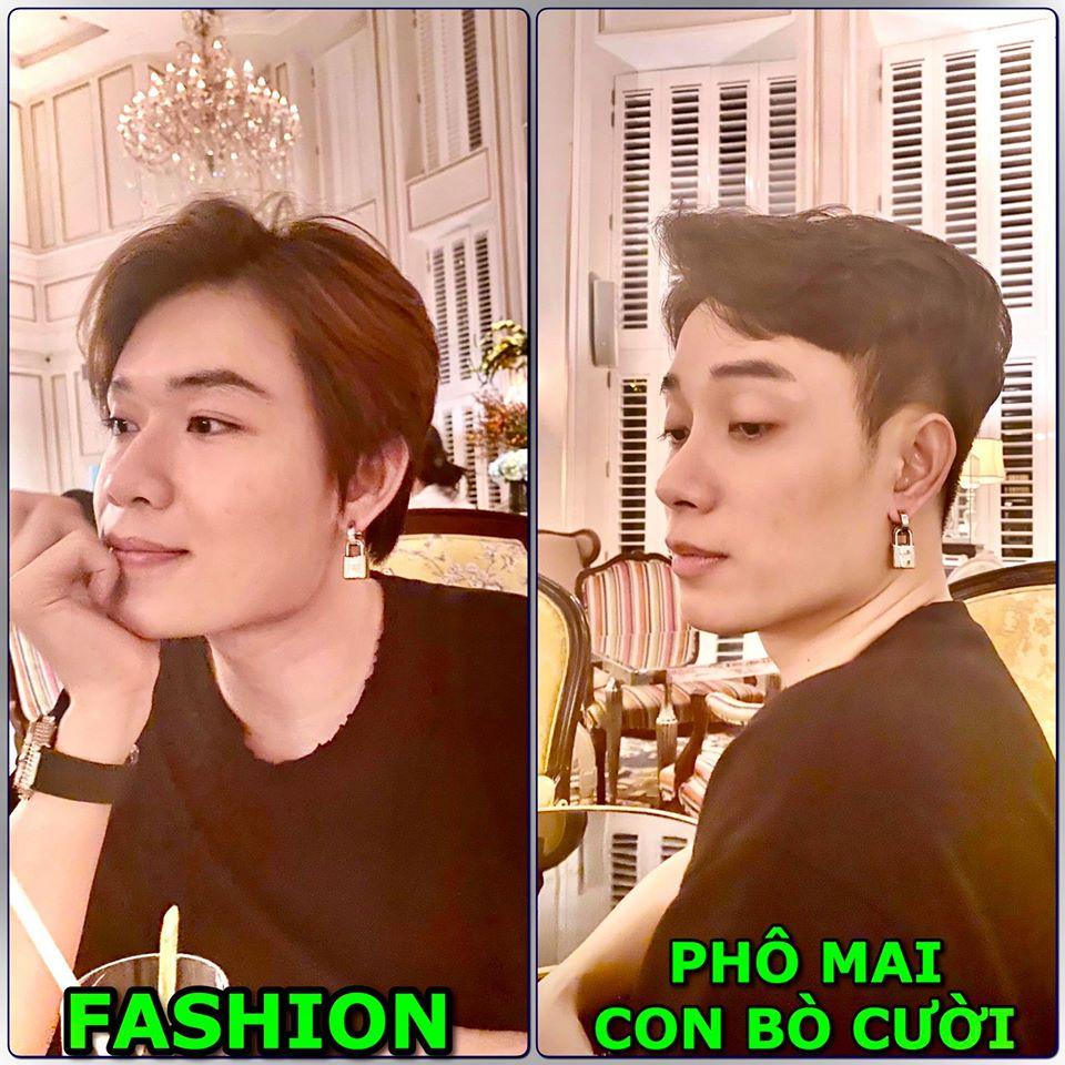 Quang Trung và Trúc Nhân cùng style đeo khuyên tai hình ổ khóa