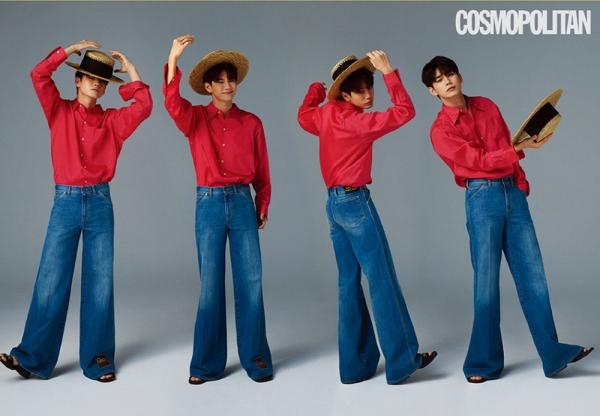 Ong Seong Woo lên tạp chí thật lạ với mũ cói, sơ mi sơ vin quần jeans ống loe.